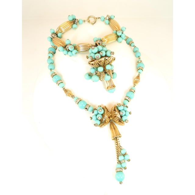 Miriam Haskell Turquoise Glass Necklace & Bracelet Set, Made in Germany 1950s For Sale - Image 13 of 13