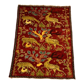 Iranian Hand Woven Wool Rug With Deer Theme For Sale
