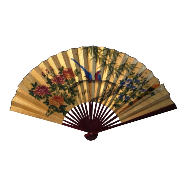 Asian Blue Bird & Floral Gold Paper Wall Fan - Image 1 of 8