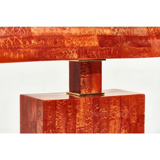 1980s Karl Springer Tessellated Red Coral Stone Table Lamp For Sale - Image 5 of 6