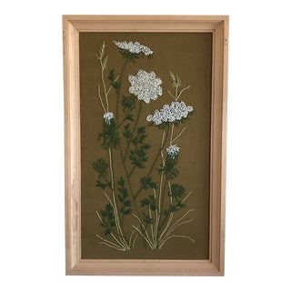 Mid-Century Queen Anne's Lace Framed Crewel Work Textile Art