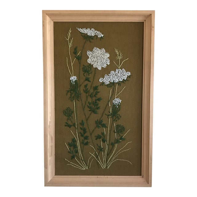 Mid-Century Queen Anne's Lace Framed Crewel Work Textile Art For Sale