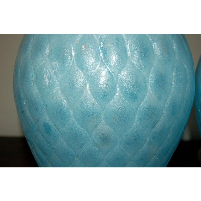 Galliano Ferro Vintage Murano Glass Table Lamps Blue For Sale In Little Rock - Image 6 of 9