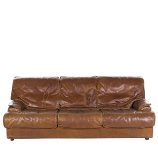 Leather Sofa in the Style of Saporiti For Sale