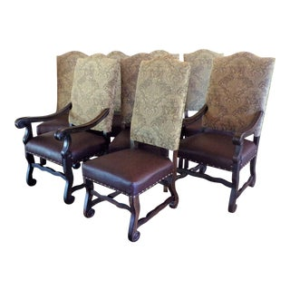 Old World Vintage Tuscan Damask and Leather Nail-Head Dining Chairs - Set of 8 For Sale