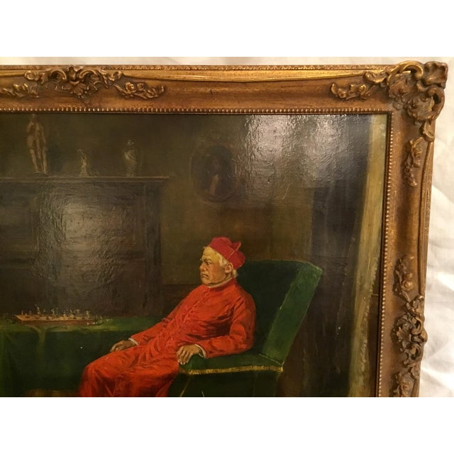 Red The Gentlemen of Rome ~ Oil on Board Painting Circa 1910 For Sale - Image 8 of 13