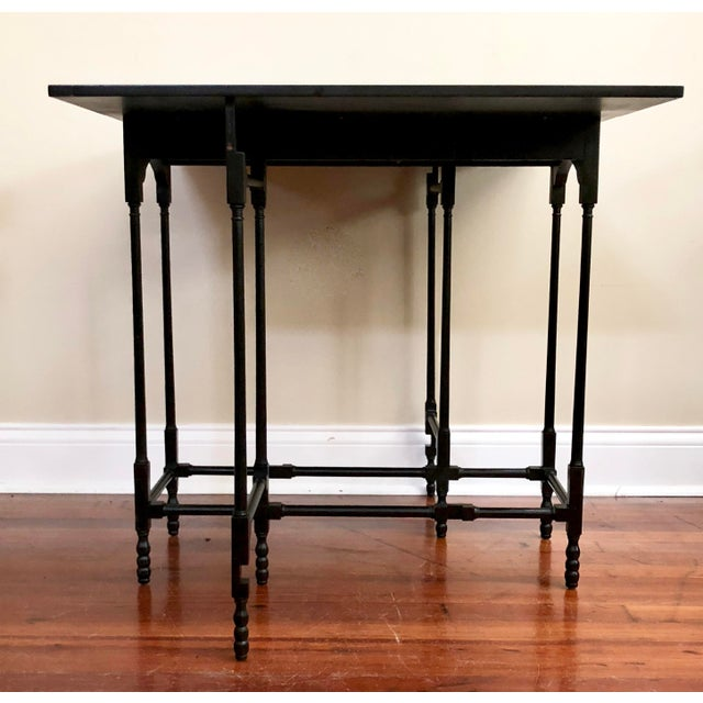 Asian 1980s Chinoiserie Baker Furniture Black Lacquer Gate Leg Side Table For Sale - Image 3 of 11
