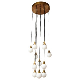 Stilnovo Cascading Chandelier With Twelve Opaline Glass Lights For Sale