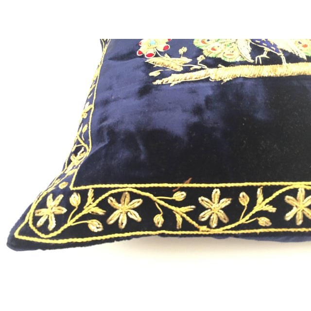 Anglo-Indian Mid Century Velvet Blue Silk Pillow Embroidered With Gold Peacock For Sale - Image 3 of 11