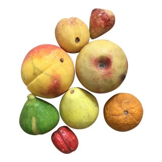 Vintage Italian Mid Century Marble Stone Fruit - Set of 8 For Sale