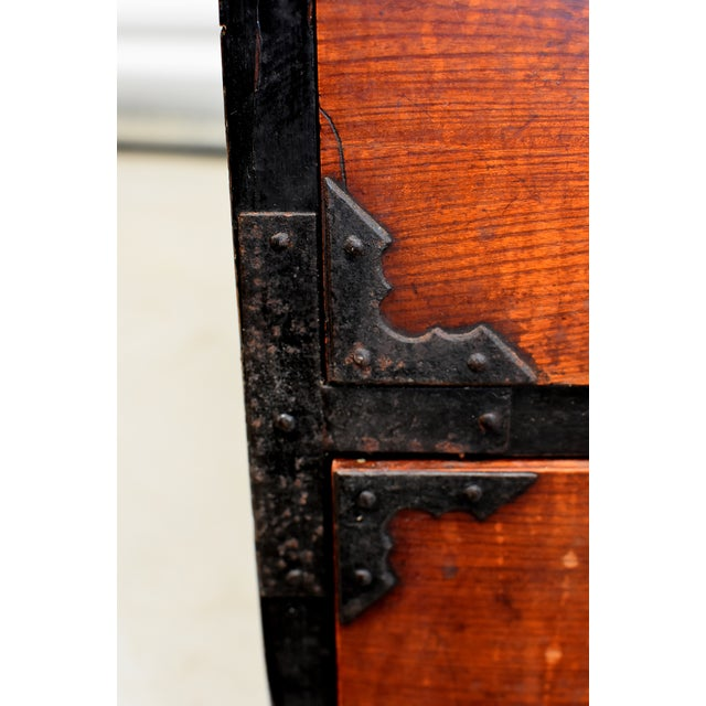Vintage Japanese Low Tansu Chest with Bamboo Crane Hardware For Sale - Image 9 of 13