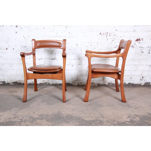 1960s Sculpted Solid Teak and Leather Studio Crafted Club Chairs - a Pair For Sale - Image 4 of 13