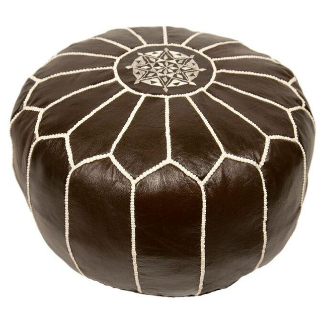 Embroidered Leather Pouf in Coffee - Image 3 of 3