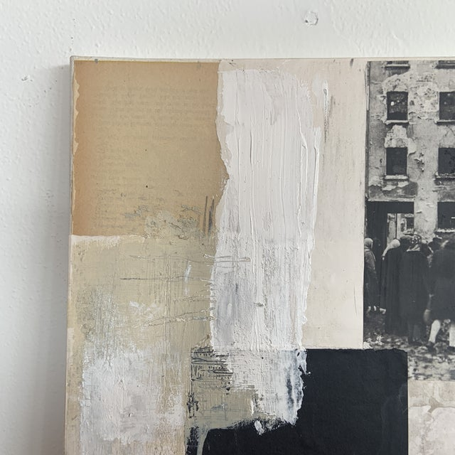 2017 mixed media painting on stretched canvas by Milwaukee artist Ross Severson. Muted minimalist color palate of black,...