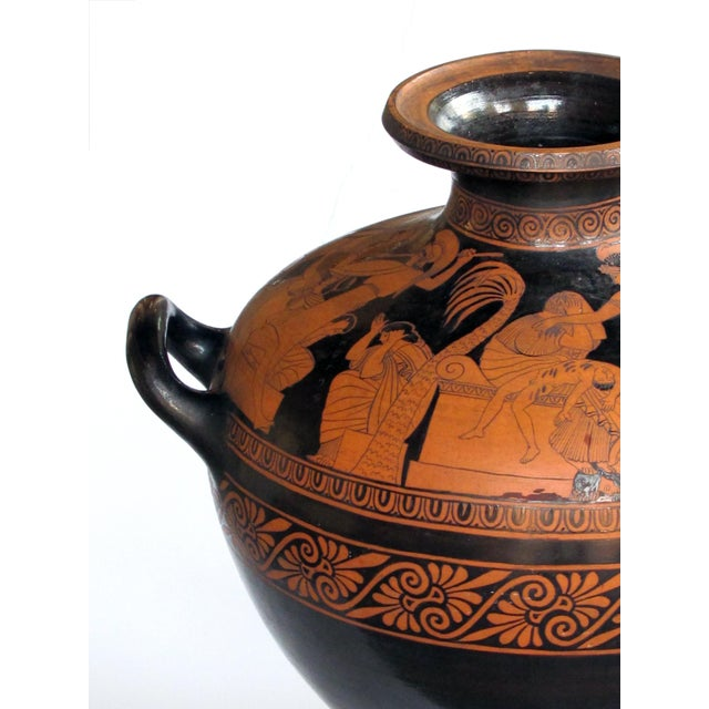 Italian A Rare and Large-Scaled Italian Terracotta Glazed Stamnos Vase/Jar by Listed Ceramicist Giovanni Mollica, C. 1850 For Sale - Image 3 of 8