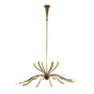 Large Italian -Light Brass Chandelier by Guglielmo Ulrich - 1950