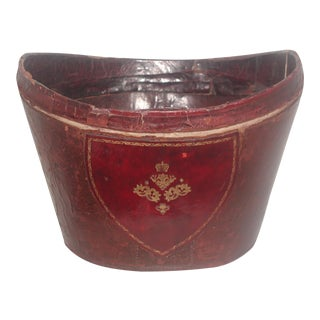 Antique English Red Leather Top Hat Box