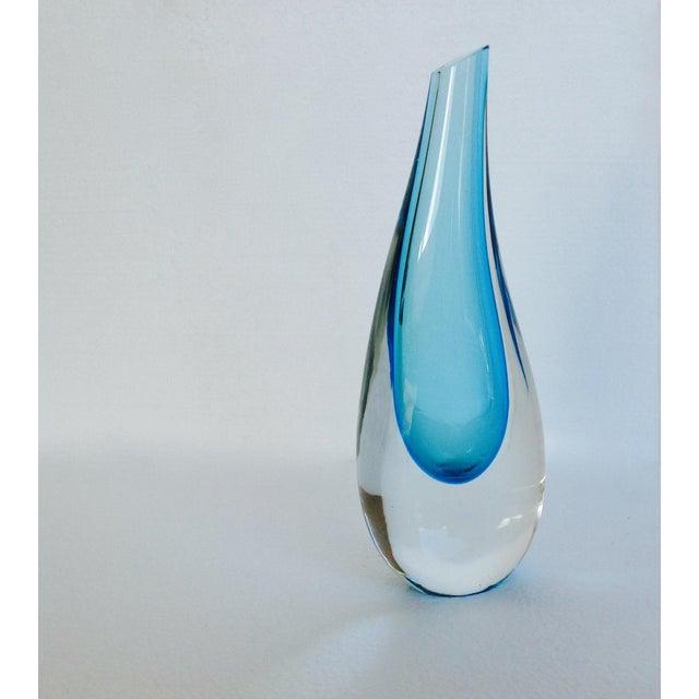 Vintage; Italian Murano hand blown Mandruzzato undulating feminine, curved vase, in an alluring aqua blue or cerulean blue...