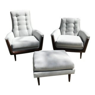 Adrian Pearsall His & Hers Chairs With Ottoman - Set of 3