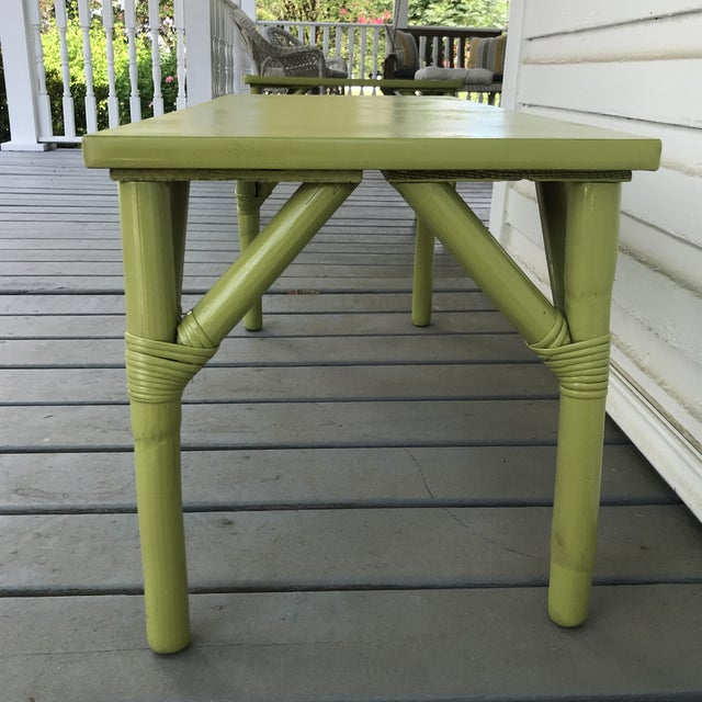 1970s Boho Chic Apple Green Bamboo Coffee Table For Sale - Image 4 of 7