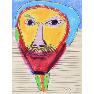 Michael DI Cosola Bright Abstracted Portrait Drawing in Oil Pastel, Late 20th Century For Sale