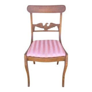 Antique Mahogany Saber Leg Eagle Carved Side Dining Desk Chair