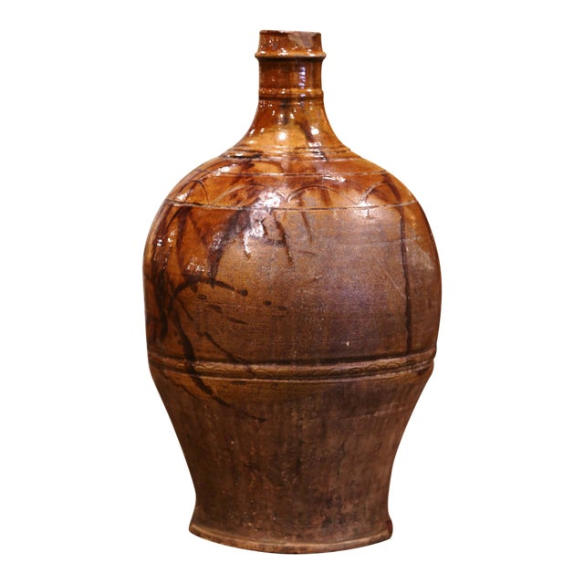 19th Century Spanish Glazed and Painted Terracotta Wine Jar For Sale