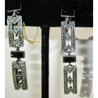 Art Deco Austrian Sterling and Marcasite Onyx Earrings Preview