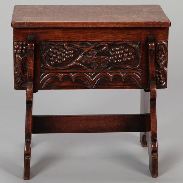 Brown Carved French Oak Flip Top Stool With Grapes For Sale - Image 8 of 8