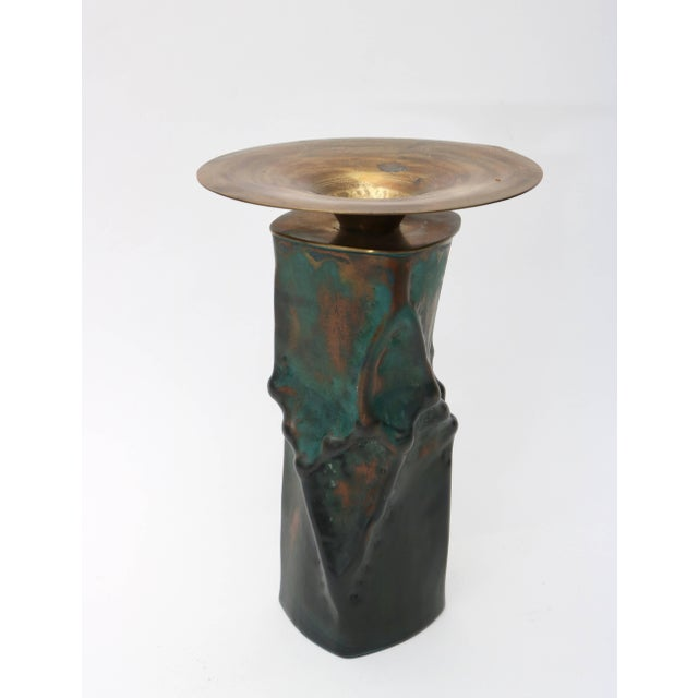 Brutalist Oxodized Copper and Brass Candleholders - Set of 3 For Sale - Image 4 of 11