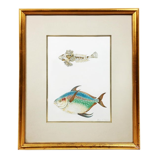 Rainbow Porgy & Sea Robin Goauche Painting With Gold Frame For Sale
