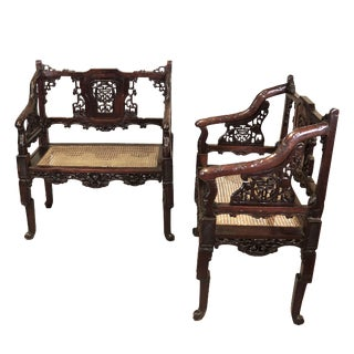 C. 1900 Pair of Chinese Carved Benches For Sale