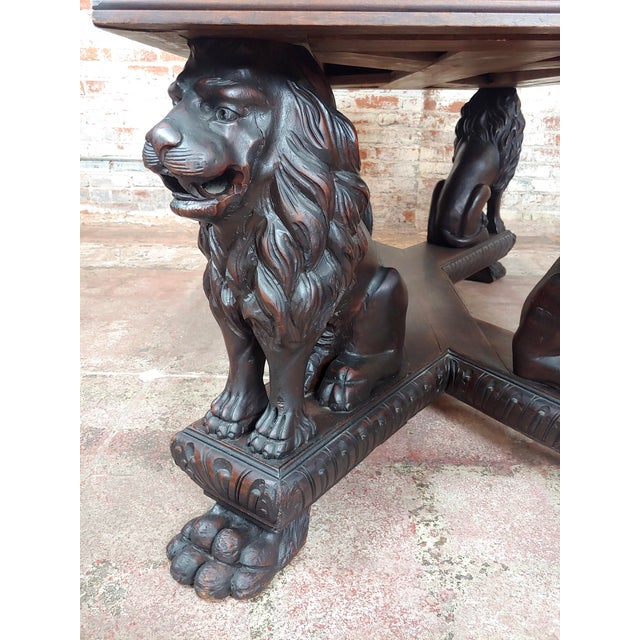 Wood 19th Century Library Table W/ 4 Carved Lions For Sale - Image 7 of 10