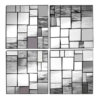 Cb2 Neal Small Style Mirror Collage Framed in Black Powder Coated Steel - Set 4 For Sale
