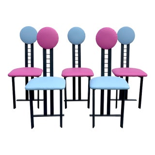 1980s Vintage Memphis Style Dot Dining Chairs- Set of 5 For Sale