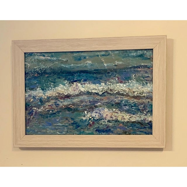 """Seascape Contemporary Abstract Original Oil Painting Framed 17""""x12"""" Framed. Nancy T. Van Ness Artist… Raw paint on the..."""