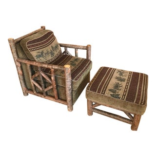 Woodlands Adirondack Style Overstuffed Chair and Ottoman