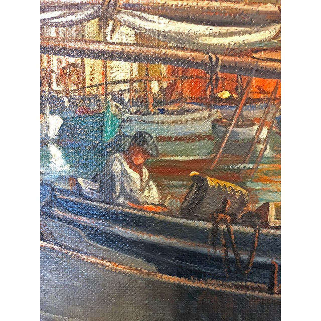 "Large Nautical ""Ships in Harbor"" Oil Painting For Sale In Austin - Image 6 of 7"