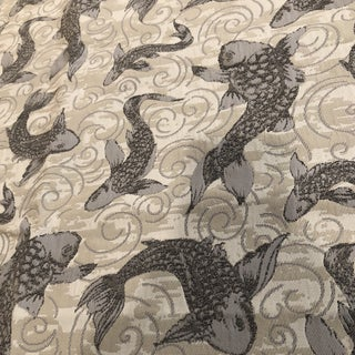 Beige and Gray Fish Swimming Fabric - 1.5 Yards For Sale