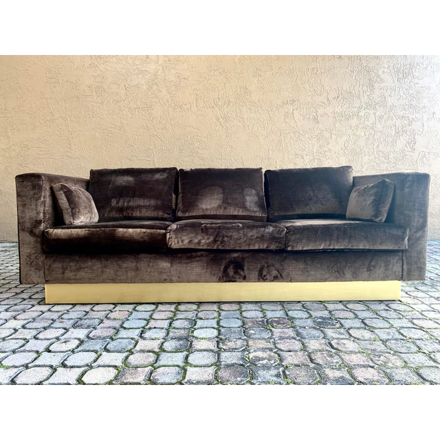 Art Deco Newly Reupholstered Velvet Tuxedo Sofa For Sale - Image 3 of 7