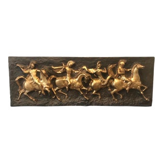 1960s Finesse Originals Monumental Horse & Warrior Sculptural Relief Wall Mural Art For Sale