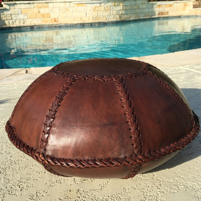 Vintage Bohemian Hand Stitched Leather Floor Pillow - Image 9 of 11