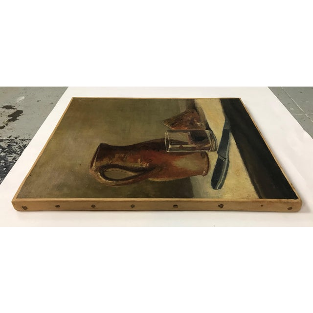 Canvas 20th C. Wine and Cheese Still Life Painting For Sale - Image 7 of 10