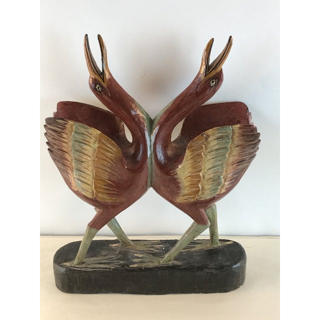 1970s Vintage Hand Carved Wood Painted Cooing Love Figurine For Sale - Image 11 of 11