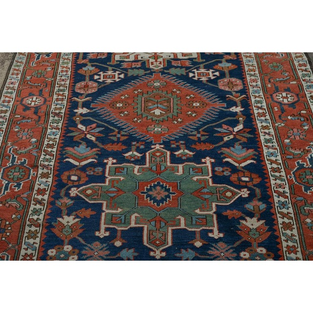 Caucasian Kazak Tribal Design Runner Rug - 4′ × 12′11″ For Sale - Image 4 of 10
