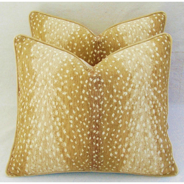 "Custom-Tailored Antelope Fawn Spot Velvet Feather/Down Pillows 21"" X 18"" - Pair For Sale - Image 4 of 10"