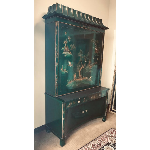 Emerald Green Lacquer Asian Chinoiserie Secretary Desk China Cabinet Armoire For Sale - Image 11 of 13