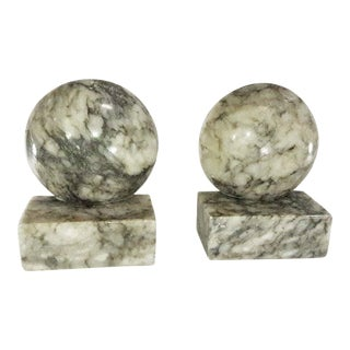 Vintage Alabaster Carved Ball Bookends - A Pair