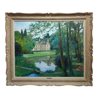 Constantin Kluge -Woman Reading in the Garden of a Beautiful French Chateau-Oil Painting For Sale