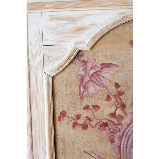 Canvas 19th Century French Provincial Painted Trumeau Mirror For Sale - Image 7 of 13